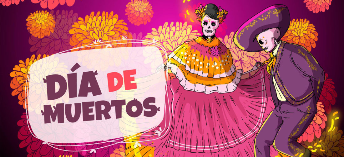 Day of the Dead cartoon with two skeletons dancing